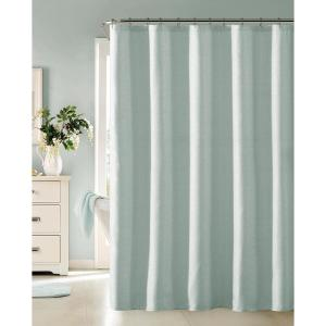 Click here to buy  Little Rock 72 inch Blue Fabric Shower Curtain with Lurex.
