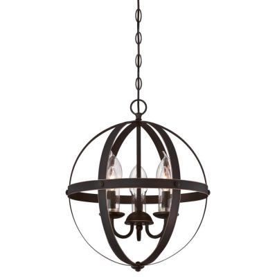 Stella Mira 3-Light Oil Rubbed Bronze with Highlights Outdoor Hanging Chandelier