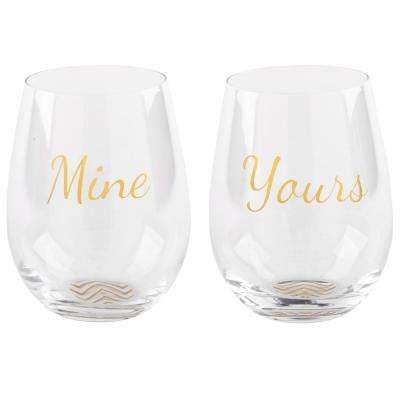 19 oz. Posh Mine/Yours Stemless Wine Glass in Gift Box (2-Pack)