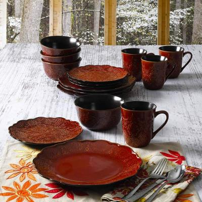 Portina 16-Piece Red Dinnerware Set