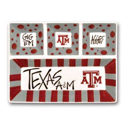 Texas A and M Ceramic 4 Section Tailgating Serving Platter
