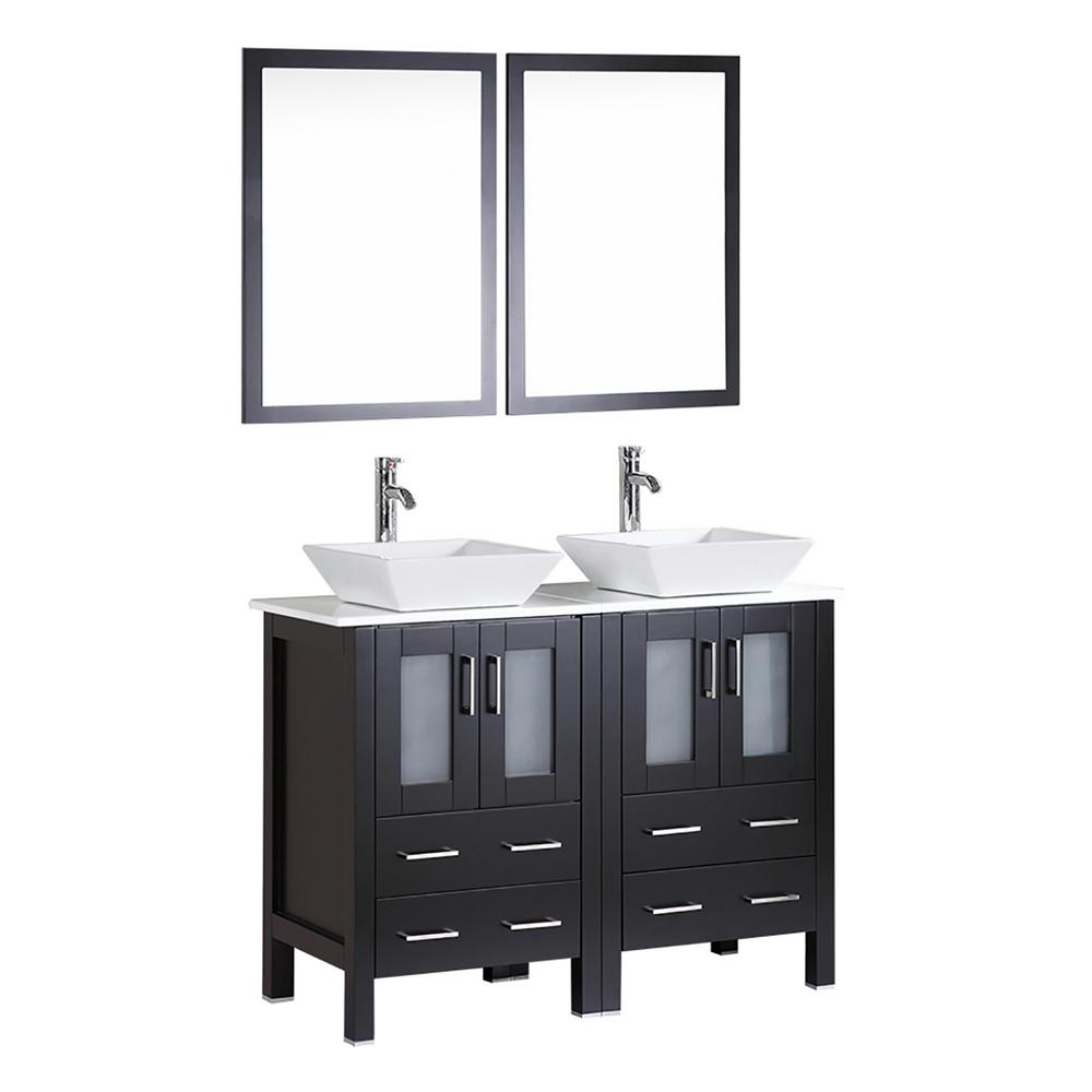 Bosconi 48 in. W Double Bath Vanity in Espresso with  Stone Vanity Top with White Basin and Mirror