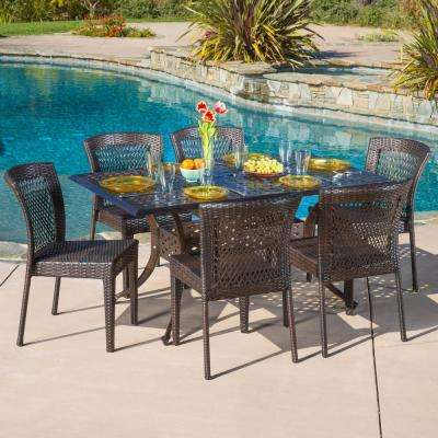 Dusk Bronze and Mixed Brown 7-Piece Aluminum and Wicker Rectangular Outdoor Dining Set