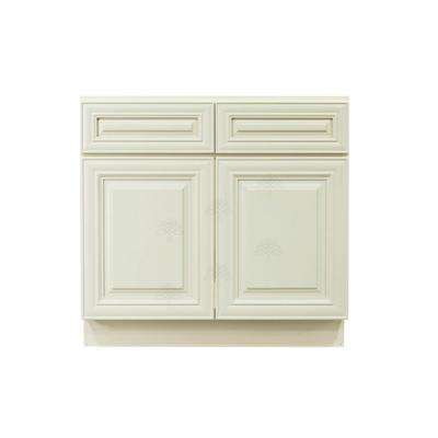 Princeton Assembled 42 in. x 34.5 in. x 24 in. Sink Base Cabinet with 2-Door in Off-White
