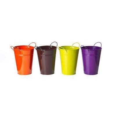 5.5 in. D x 7 in. Tall Metal Colored Pot (Set of 4)