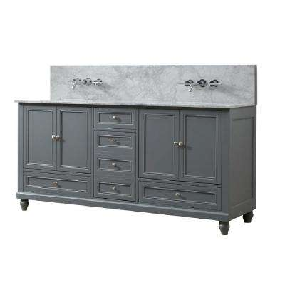 Classic Premium 72 in. W Vanity in Gray with Carrara White Marble Vanity Top with White Basins
