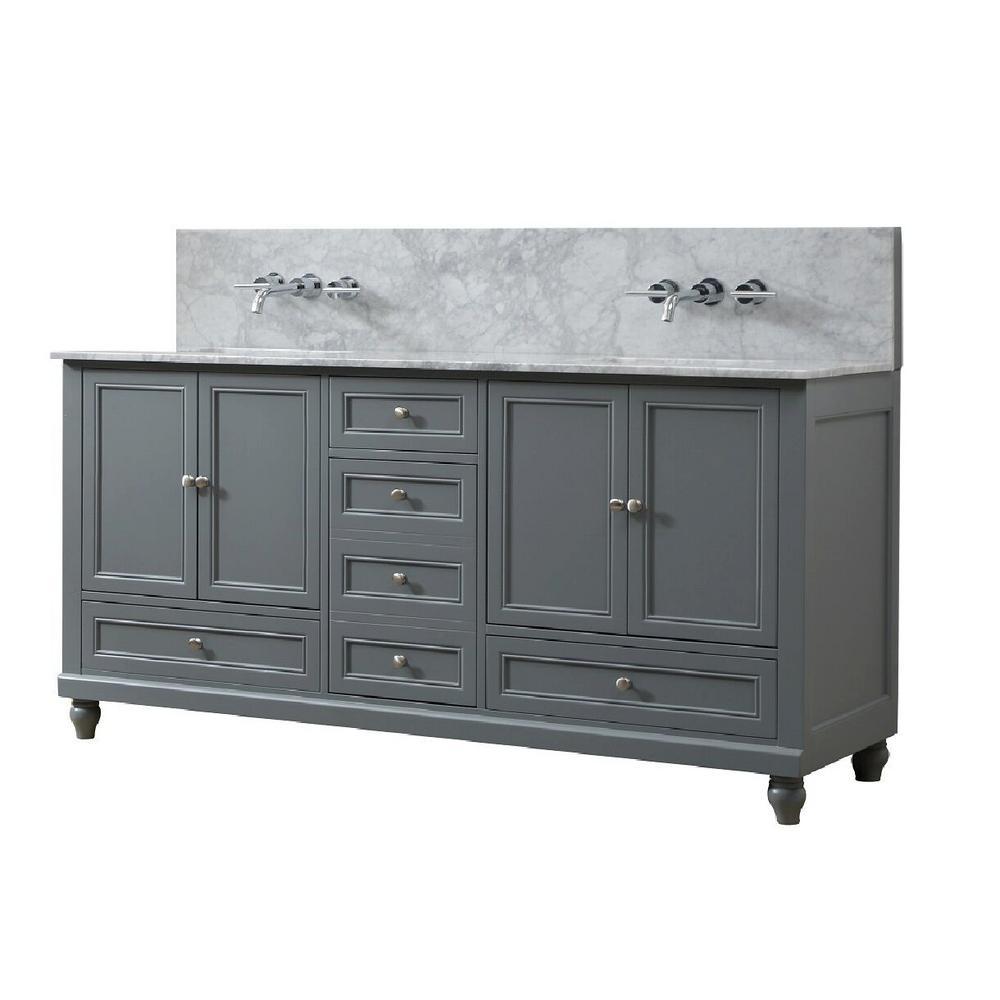 Direct Vanity Sink Classic Premium 72 In W Vanity In Gray With