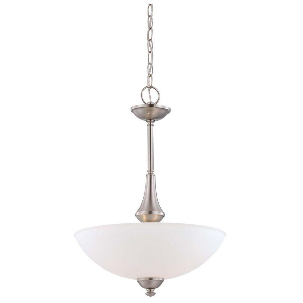 3-Light Brushed Nickel Pendant with Frosted Glass Shade