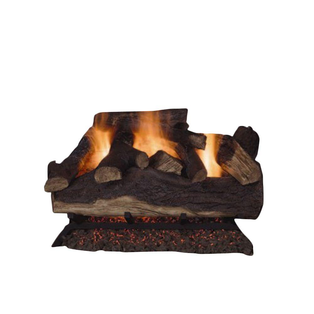 Emberglow - Lanier Oak 18 in. Vented Natural Gas Fireplace Logs - Uses 50