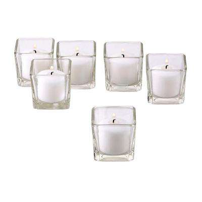 Clear Glass Square Votive Candle Holders with White Votive Candles (Set of 36)