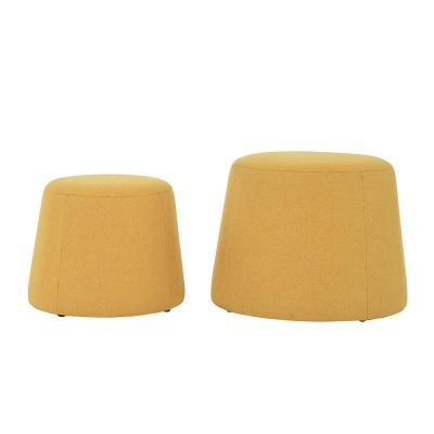 Pouf Footstool Yellow Ottoman Storage Round Floor Cushion Footstool for Living Room Bedroom