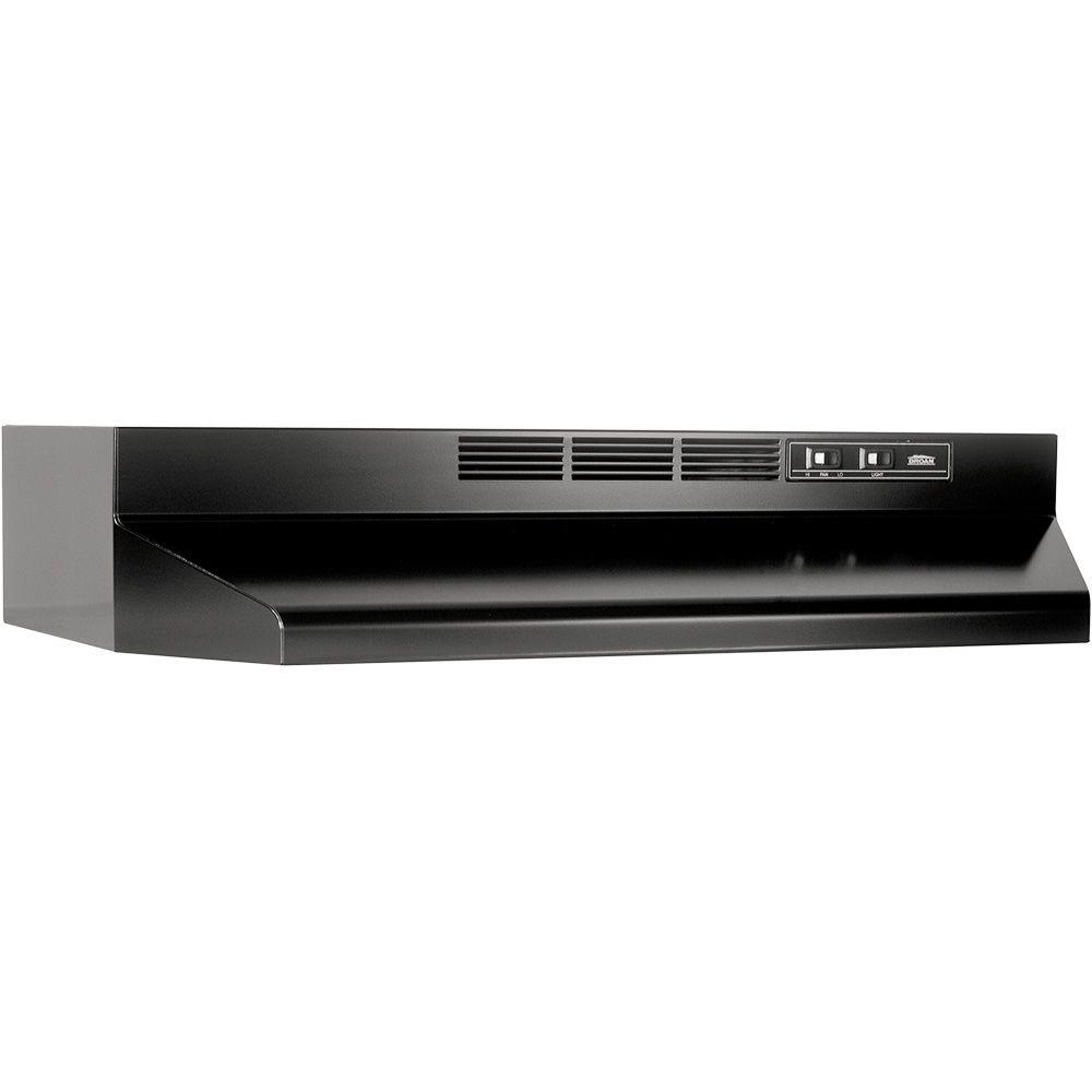 broan 41000 series 30 in non vented range hood in black 413023 the home depot. Black Bedroom Furniture Sets. Home Design Ideas