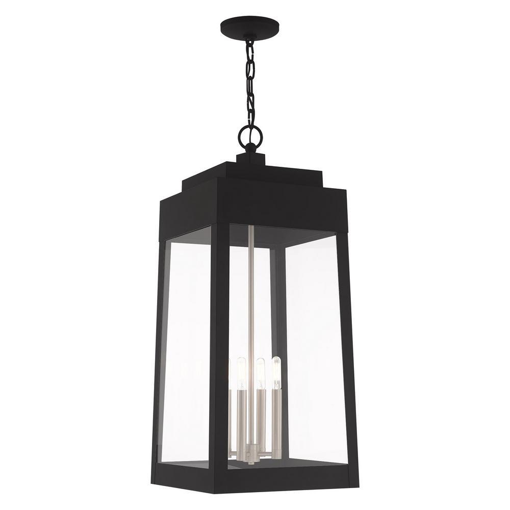Oslo Extra Large 4-Light Black Outdoor Pendant Lantern
