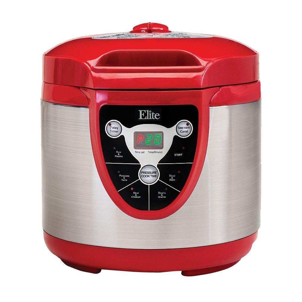 6 Qt. Pressure Cooker, Red/Orange