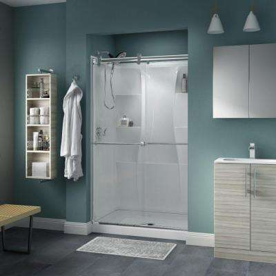 Lyndall 48 in. x 71 in. Semi-Frameless Contemporary Sliding Shower Door in Chrome with Clear Glass