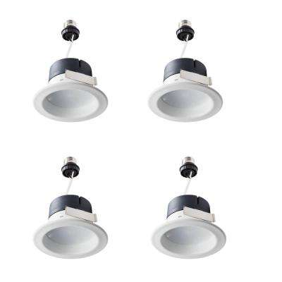 50-Watt Equivalent BR20 LED 4 in. Retrofit Trim Recessed Downlight Dimmable Flood Light Bulb Daylight (4-Pack)