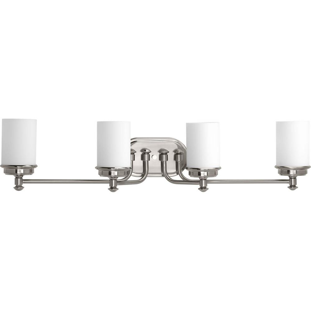 Glide Collection 4-Light Brushed Nickel Vanity Light with Opal Glass Shades