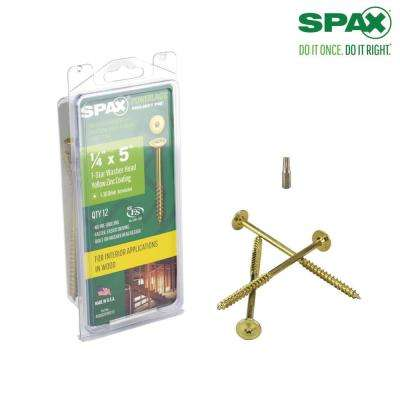 1/4 in. x 5 in. T-Star Washer Head Yellow Zinc Coated Powerlag Screw Project Pax (12-Box)