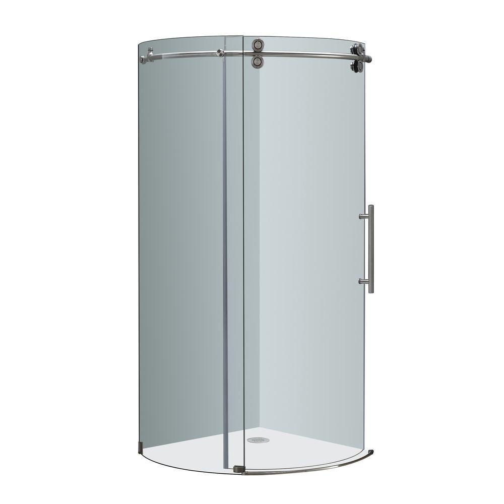 Aston Orbitus 40 in. x 40 in. x 75 in. Completely Frameless Round ...