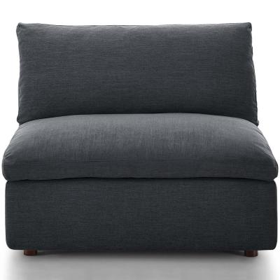 Commix Gray Down Filled Overstuffed Armless Chair