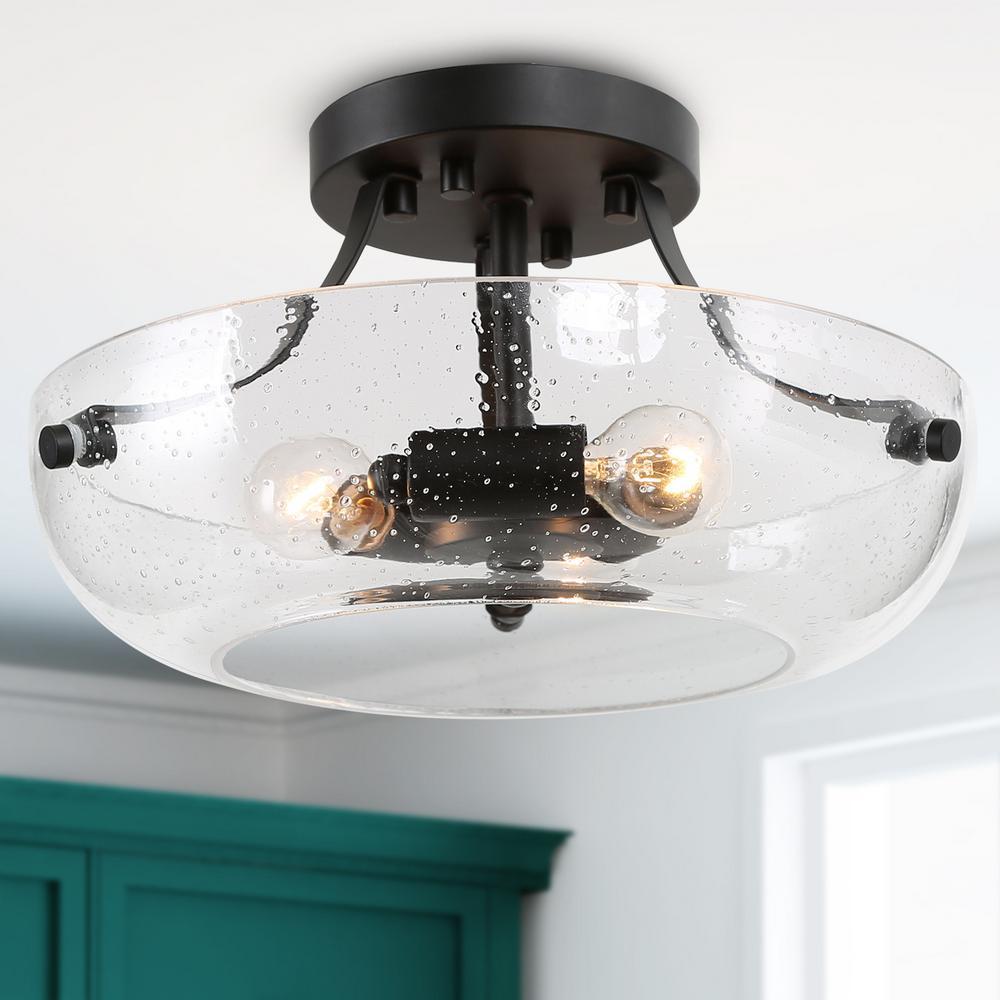 Semi Flush Mount Lighting Choni 3-Light Modern Black Semi Flush Mount Light with Clear Seeded Glass Shade