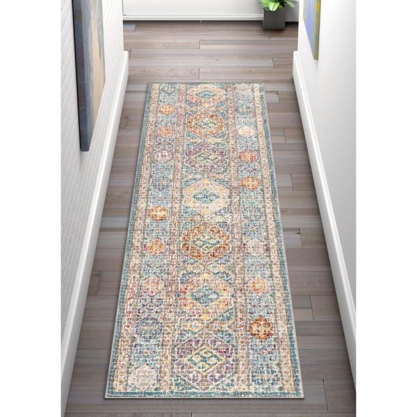 Well Woven Allure Eden Blue Vintage Pastel Southwestern 2 Ft 7 In X 9 Ft 10 In Runner Rug Ae 84 2l The Home Depot