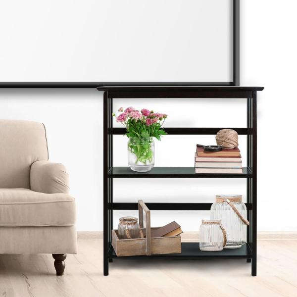 Casual Home Mission Style Espresso Solid Wood 3-Shelf Bookcase