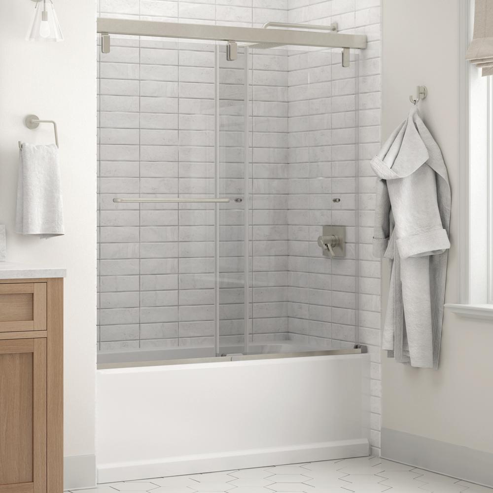Portman 60 x 59-1/4 in. Frameless Mod Soft-Close Sliding Bathtub Door in Nickel with 1/4 in. (6mm) Clear Glass