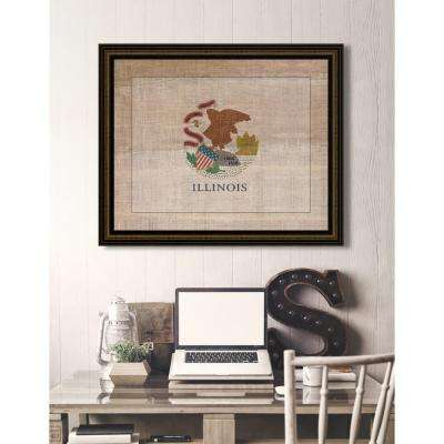 """29 in. x 23 in. """"Illinois State Flag"""" Framed Giclee Print Wall Art"""