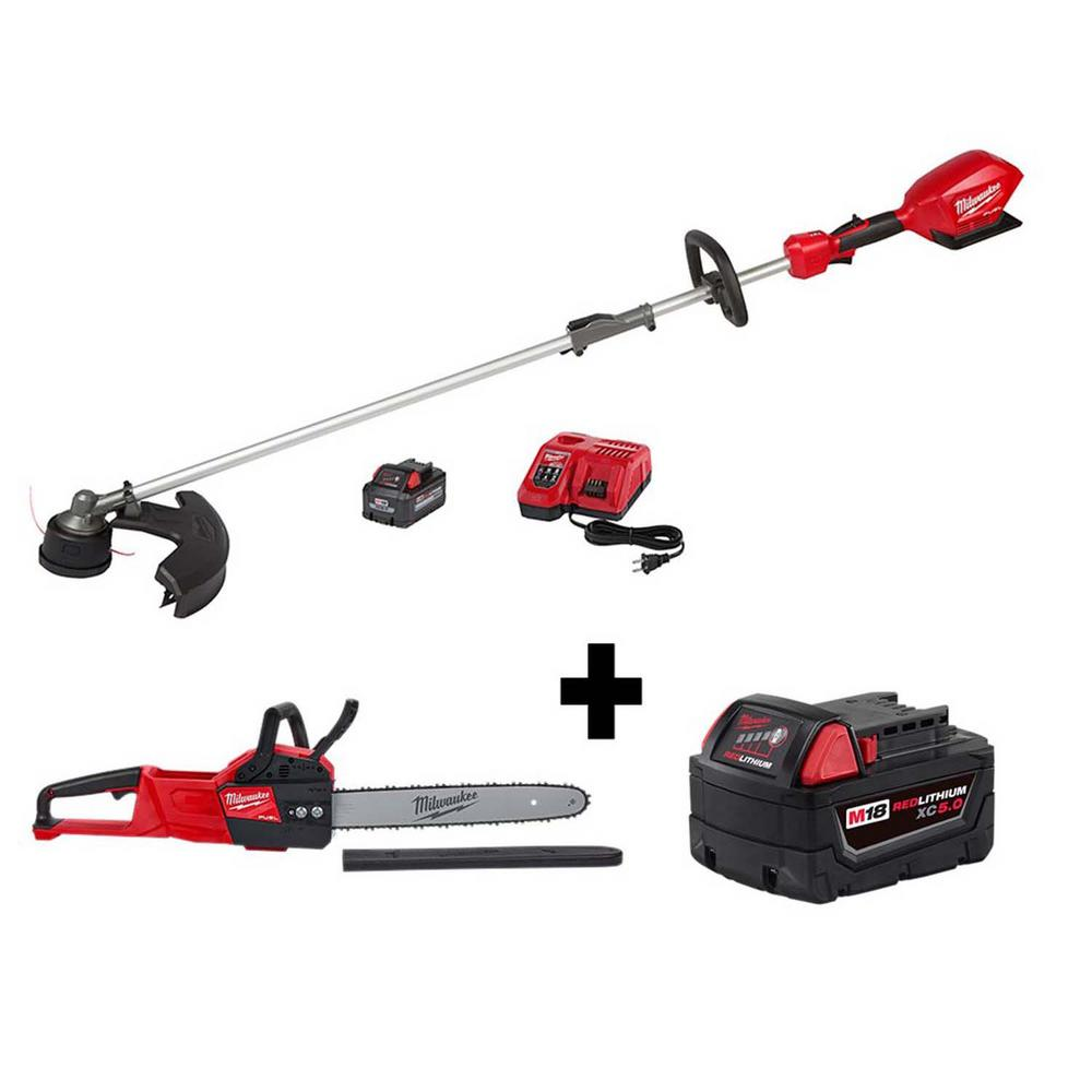 Milwaukee M18 FUEL QUIK-LOK 18-Volt Lithium-Ion Brushless Cordless String Trimmer Kit with M18 FUEL Chainsaw and M18 5.0Ah Battery