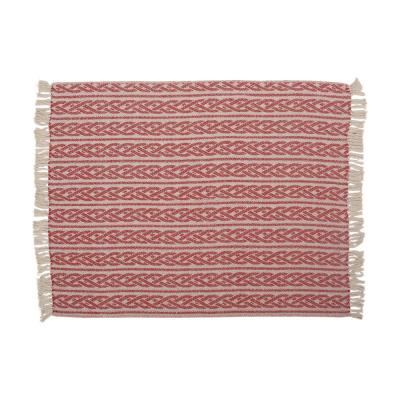 Francell Red and Natural Fabric Throw Blanket