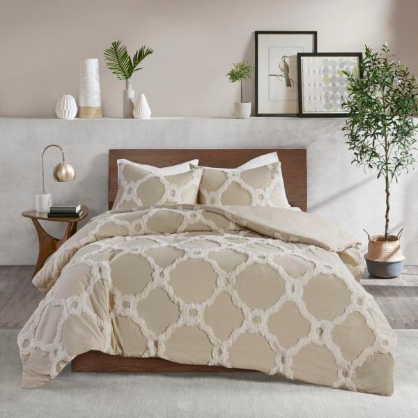 Madison Park Nollie 3 Piece Taupe King/Cal King Tufted Cotton