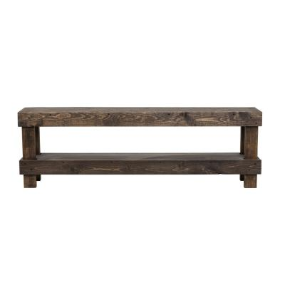 Rustic Dark Walnut Contemporary Farmhouse Solid Wood Bench Large