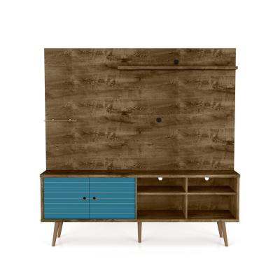 Liberty 71 in. Rustic Brown and Aqua Blue Particle Board Entertainment Center Fits TVs Up to 55 in. with Wall Panel
