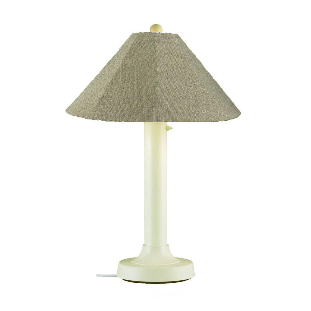 Catalina 34 in. Bisque Outdoor Table Lamp with Basil Linen Shade