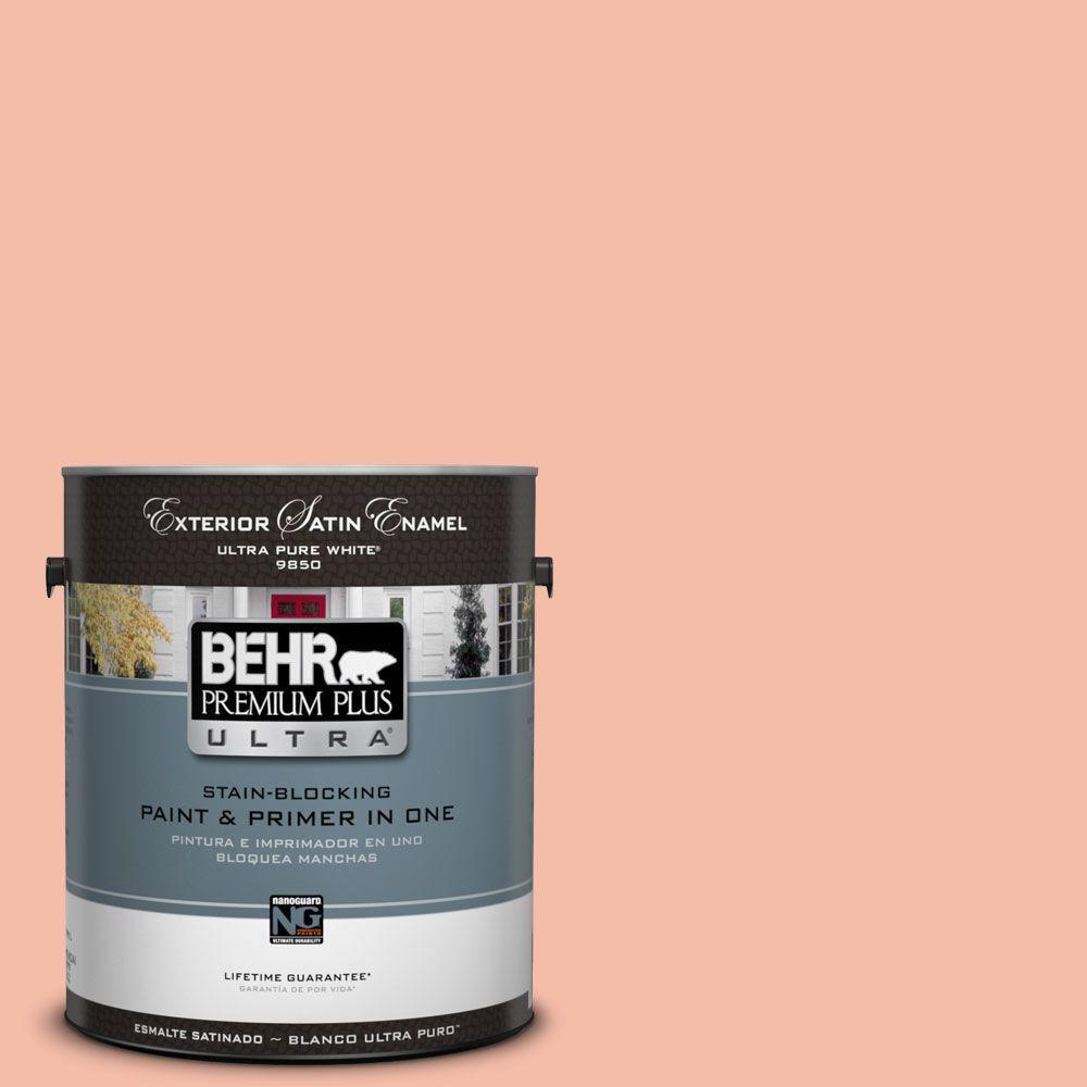 BEHR Premium Plus Ultra 1-gal. #HDC-SP14-4 Heirloom Apricot Satin Enamel Exterior Paint