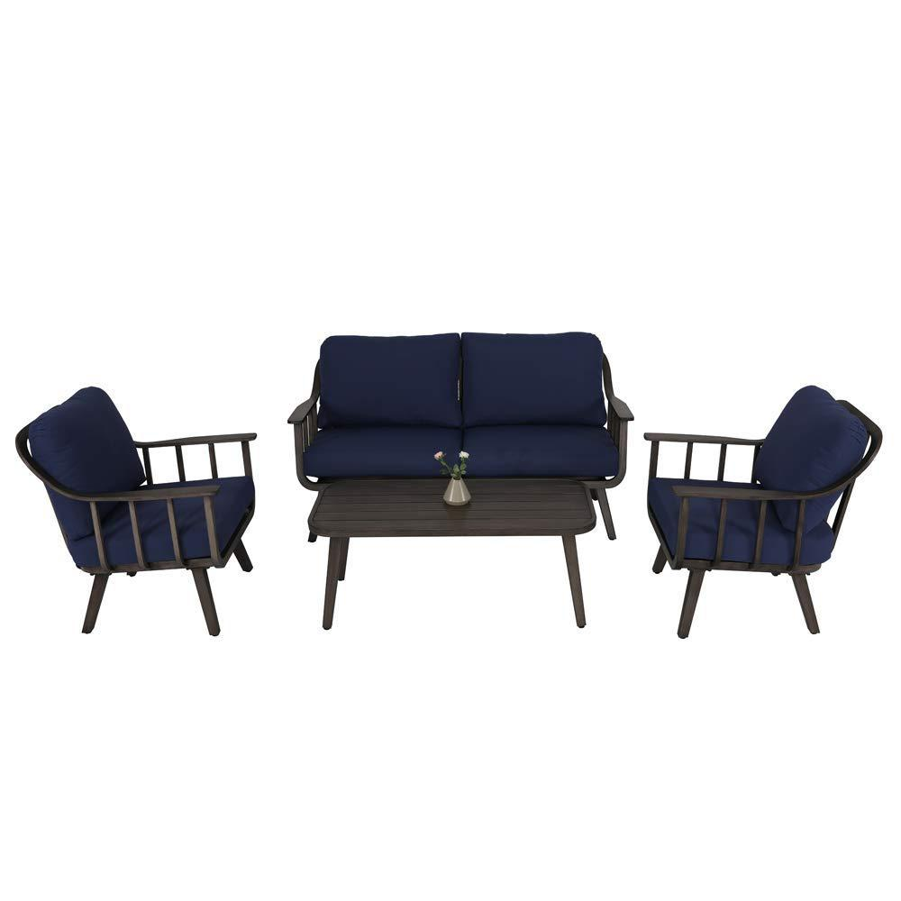 4 Piece Aluminum Patio Furniture Sets With Blue Cushions