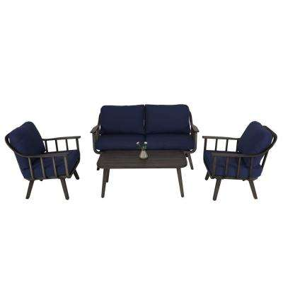 4-Piece Aluminum Patio Furniture Sets with Blue Cushions