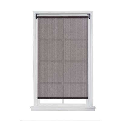 Dark Brown Cordless Push-up HDPE Exterior Roller Shade - 96 in. W x 66 in. L