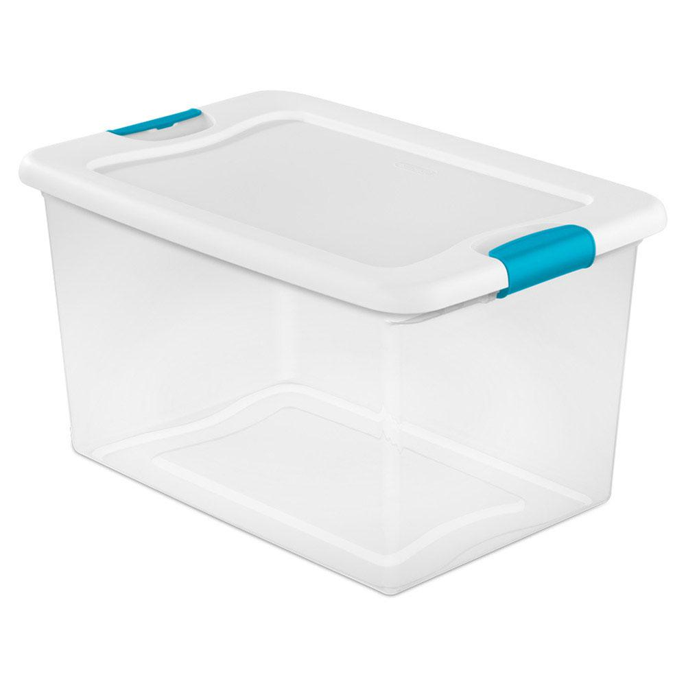 6-Pack Plastic Tote Clear With Lids Storage Container Ultra Latch Box 18 Qt