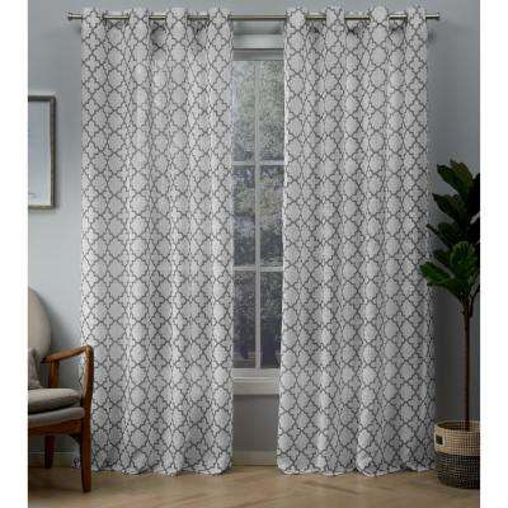 Helena 54 in. W x 84 in. L Sheer Grommet Top Curtain Panel in Dove Gray (2 Panels)
