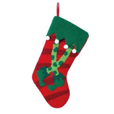 8 in. H Hooked Stocking with Elf Legs