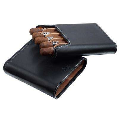 Cuero Genuine Black Leather 5-Finger Cigar Case