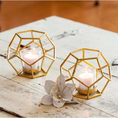 Sparkling Gold Polyhedron Iron Candle Holder with Glass (set of 2)