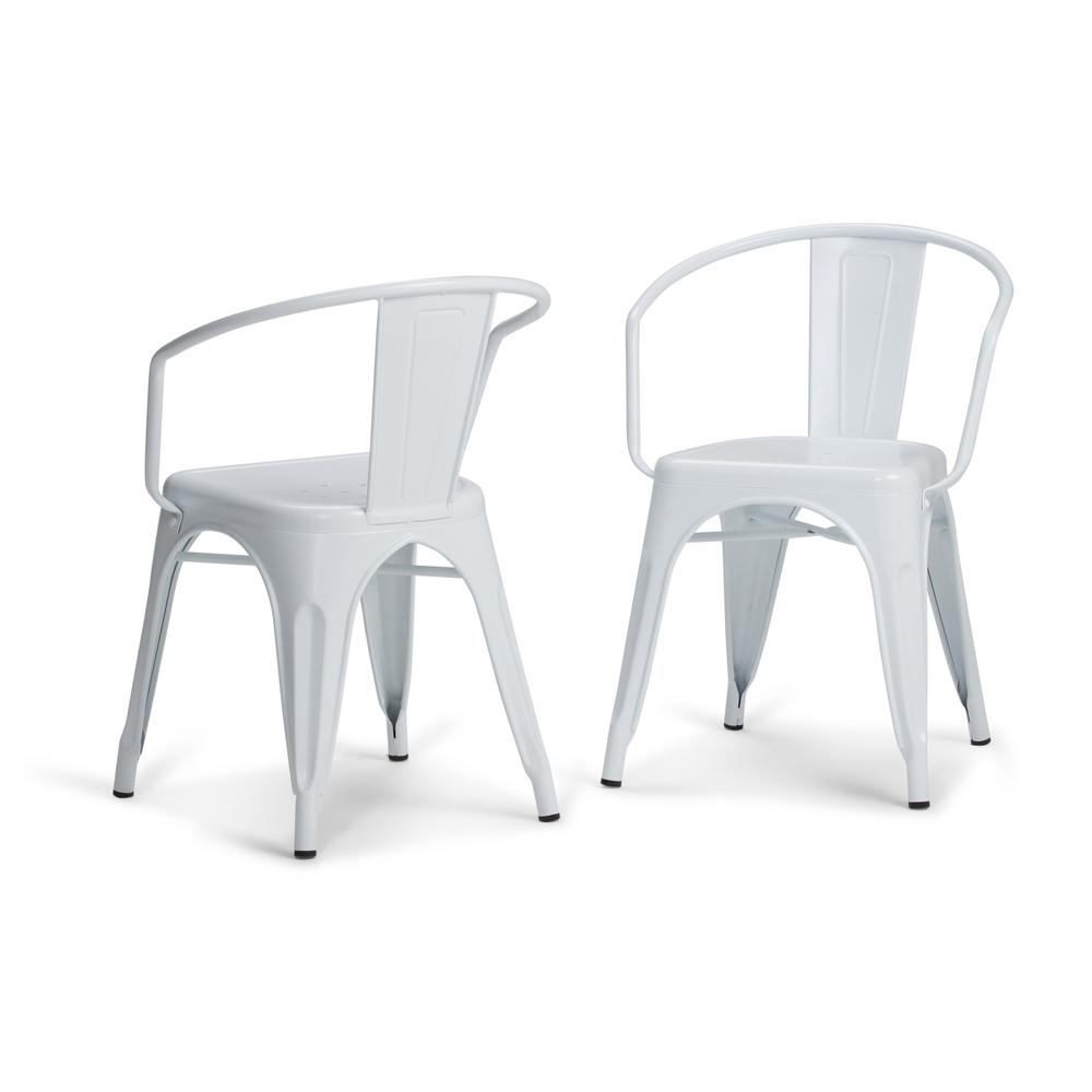Simpli Home Larkin White Metal Dining Arm Chair (Set Of 2)