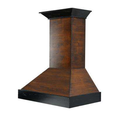 48 in. Wooden Wall Mount Range Hood in Antigua and Walnut - Includes 760 CFM Motor