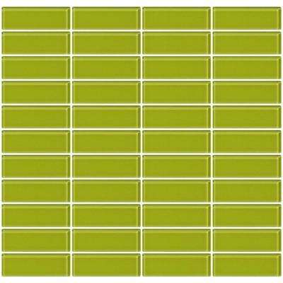 12 in. x 12 in. x 4 mm Tile'ESQUE Lime Green Glass Subway Stacked Mesh-Mounted Mosaic Tile