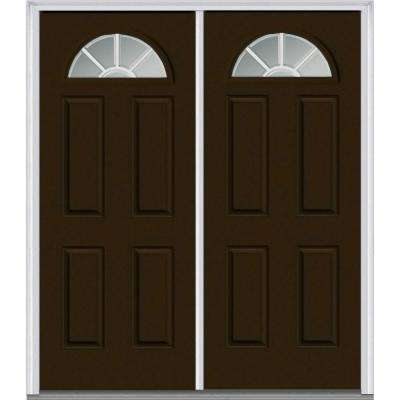 64 in. x 80 in. White Internal Grilles Right-Hand Inswing Fan Lite Clear Painted Fiberglass Smooth Prehung Front Door