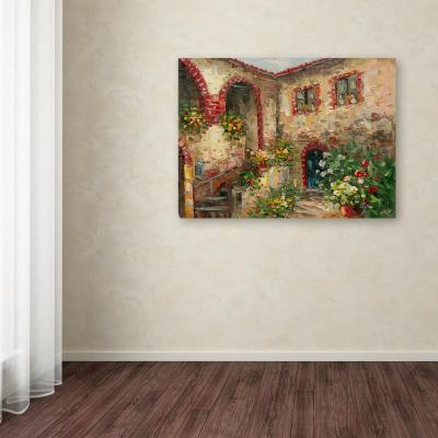 """35 in. x 47 in. """"Tuscany Courtyard"""" by Rio Printed Canvas Wall Art"""