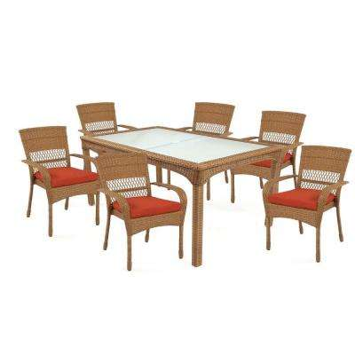 Charlottetown Natural 7 Piece All Weather Wicker Patio Dining Set With  Quarry Red Cushion